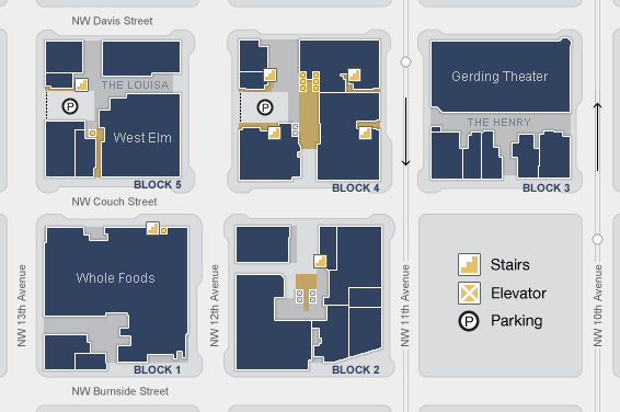 The Brewery Blocks - Retail & Dining - Brewery Blocks Site Map